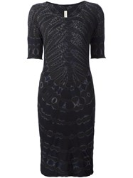 Raquel Allegra Tie Dye Fitted Dress Black