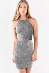 Oh My Love Alanis Metallic Bodycon Mini Dress Silver