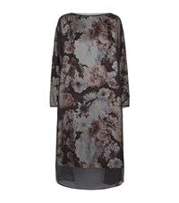 Eskandar Printed Crepe Overlay Dress Female Grey