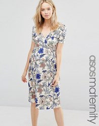 Asos Maternity Wrap Midi Dress With Pleated Skirt In Floral Print Floral Print Multi