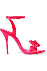 Sophia Webster Lilico Appliqued Patent Leather Sandals Bright Pink