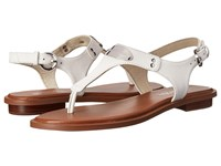 Michael Michael Kors Mk Plate Thong Optic White Saffiano Women's Sandals