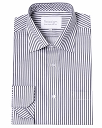 Double Two Cotton Micro Twill Stripe Shirt Charcoal