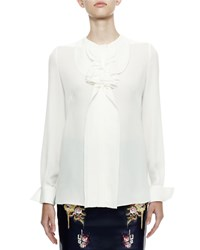 Alexander Mcqueen Long Sleeve Harness Ruffle Blouse White