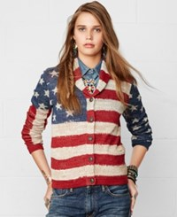 Denim And Supply Ralph Lauren American Flag Print Shawl Cardigan