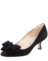 Manolo Blahnik Lisanewbo Suede Low Heel Bow Pump Black Women's Size 38.5B 8.5B
