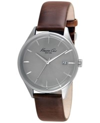 Kenneth Cole New York Men's Brown Leather Strap Watch 42Mm 10029305