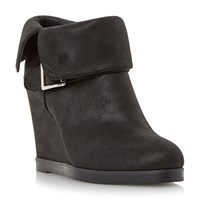 Head Over Heels Pindar Fold Down Wedge Heel Ankle Boots Black