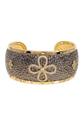 Freida Rothman Two Tone Hammered Graduated Domed Clover Cuff Metallic