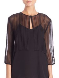 Harrison Morgan Pintucked Silk Bolero Black