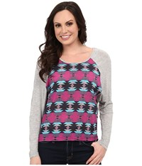Rock And Roll Cowgirl Long Sleeve Knit B4 5352 Hot Pink Women's T Shirt