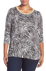 Plus Size Women's Michael Michael Kors Metallic Crewneck Zebra Print Sweater