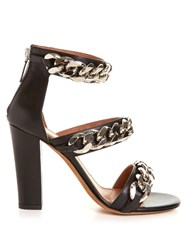 Givenchy Triple Chunky Chain Leather Sandals Black