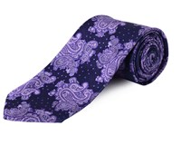 Double Two Clip On Paisley Patterned Tie Purple