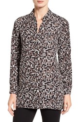 Foxcroft Women's Blurred Print Long Sleeve Blouse