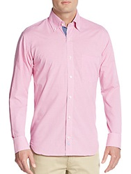 Tailorbyrd Byers Chambray Lined Cuff Cotton Gingham Sportshirt Fuchsia