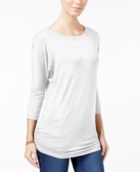Planet Gold Juniors' Ruched Dolman Sleeve Top Egret