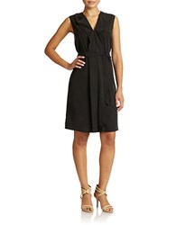 Lord And Taylor Cascade Front Dress Black