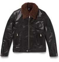 Alexander Mcqueen Slim Fit Shearling Trimmed Grained Leather Jacket Brown
