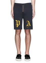 Palm Angels 'Uniform' Metallic Embroidery Shorts Blue