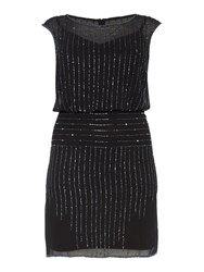 Adrianna Papell Plus Size Cap Sleeve Sequin Blouson Dress Black