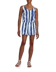 Design Lab Lord And Taylor Tie Dye Ruffle Romper Blue