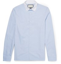 Gucci Penny Collar Cotton Oxford Shirt Blue