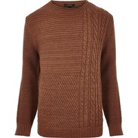 River Island Mens Rust Brown Cable Knit Jumper