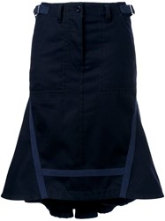 Sacai Flared Midi Skirt Blue