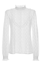 Vilshenko Anna Circle Lace Frill Neck Blouse Ivory