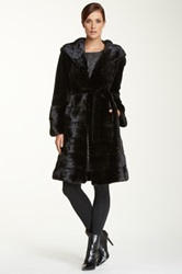 Wolfie Furs Long Genuine Dyed Mink Fur Coat Black