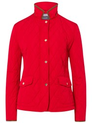 Basler Quilted Jacket With Pleather Trim Red