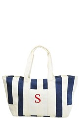 Cathy's Concepts Personalized Stripe Canvas Tote Blue Navy S
