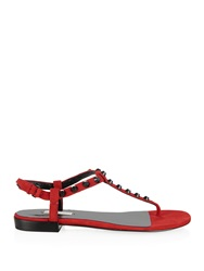 Balenciaga Arena Studded Suede Flat Sandals