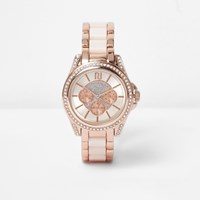 River Island Womens Plus Rose Gold Tone Chain Embellished Watch