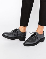 Bronx Lace Up Textured Flat Shoes Gunmetal Black