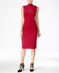 One Clothing Juniors' Mock Neck Bodycon Dress Red