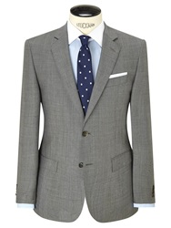 Hackett London Super 120S Wool Prince Of Wales Check Tailored Suit Jacket Grey