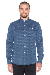 Saturdays Surf Nyc Angus Jacquard Button Up Blue