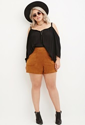 Forever 21 Faux Suede Shorts Camel