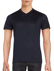 Brioni V Neck Cotton And Silk Tee Bluette
