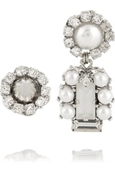 Erickson Beamon I Do Silver Plated Swarovski Crystal And Faux Pearl Earrings