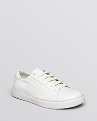 Kenneth Cole Lace Up Flat Sneakers Kam Court White