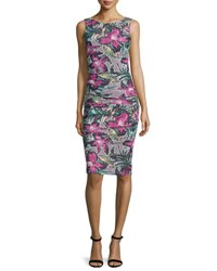 Nicole Miller Sleeveless Floral Print Side Tucked Sheath Dress Multi