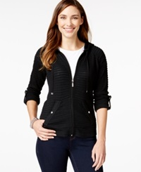 Style And Co. Petite Illusion Stripe Zipper Front Hoodie Only At Macy's Deep Black