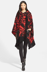 Tracy Reese Fringe Trim Knit Hooded Poncho Maasiai Red Black