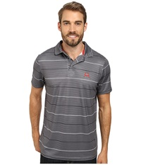 Cinch Athletic Poly Spandex Tech Polo Striped Grey Men's Short Sleeve Pullover Gray