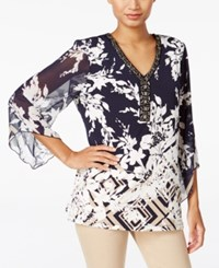 Jm Collection Beaded Printed Top Only At Macy's Meadow Grid