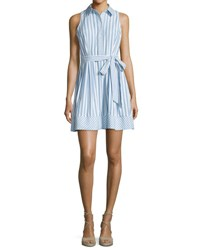 Milly Breton Sleeveless Striped Shirtdress Blue
