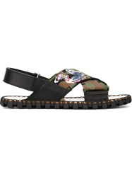 Valentino Garavani Butterfly Applique Camouflage Sandals Multicolour